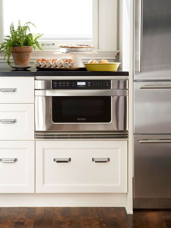 Below counter Microwave--why not?? Get valuable upper cabinet space or counter space..