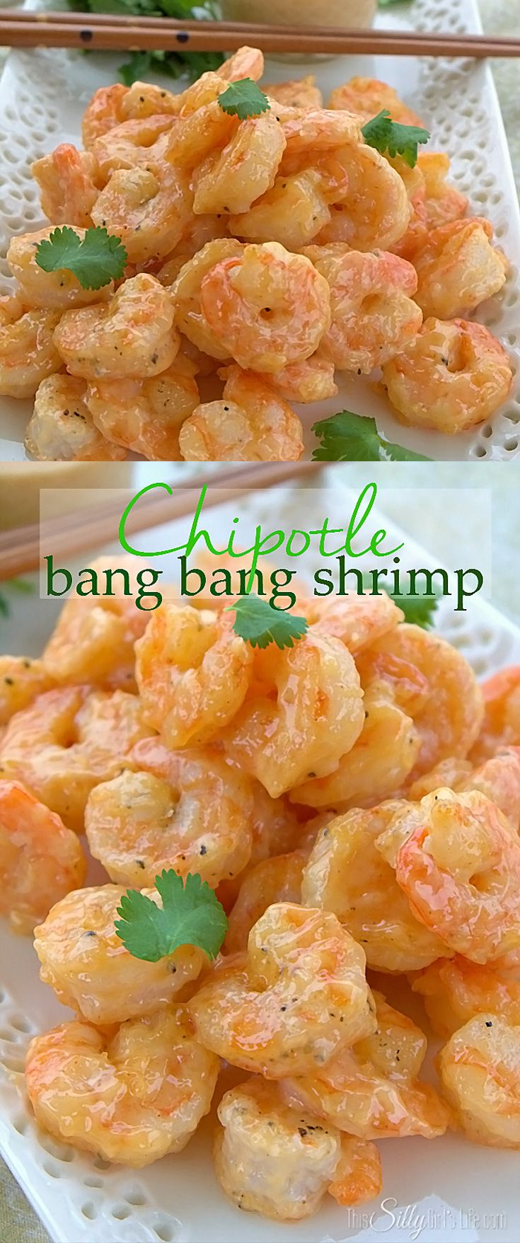Chipotle Bang Bang Shrimp, pan fried shrimp tossed in a creamy sweet and smokey sauce!