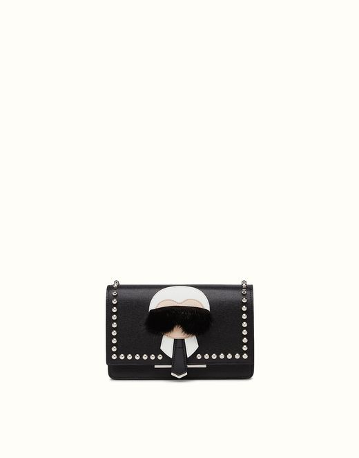 FENDI | KARLITO WALLET ON CHAIN in black leather with inlay