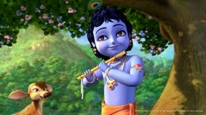 Little Krishna With His Flute Wallpaper