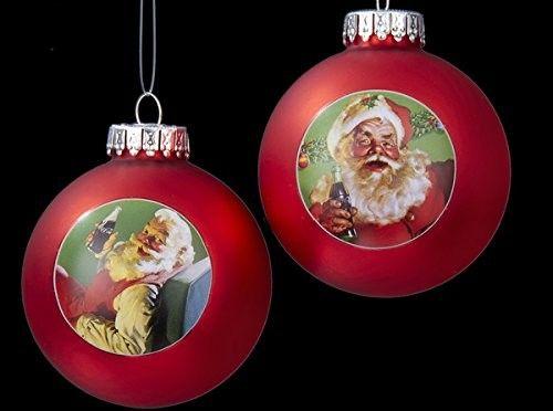 Kurt Adler Coca-Cola Santa Glass Balls Pair Ornaments