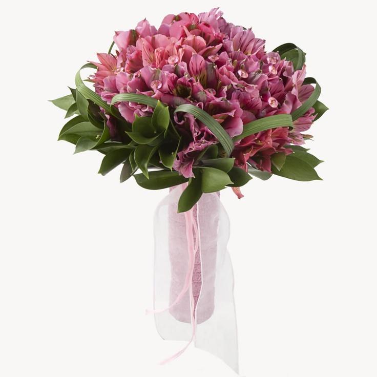 Wedding Flowers Light pink Peruvian lilies bridal bouquet Bridesign.com