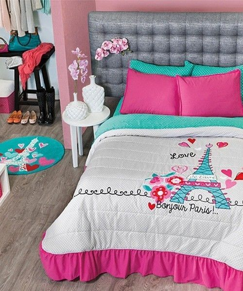 Pink And Gray Twin Bedding Set