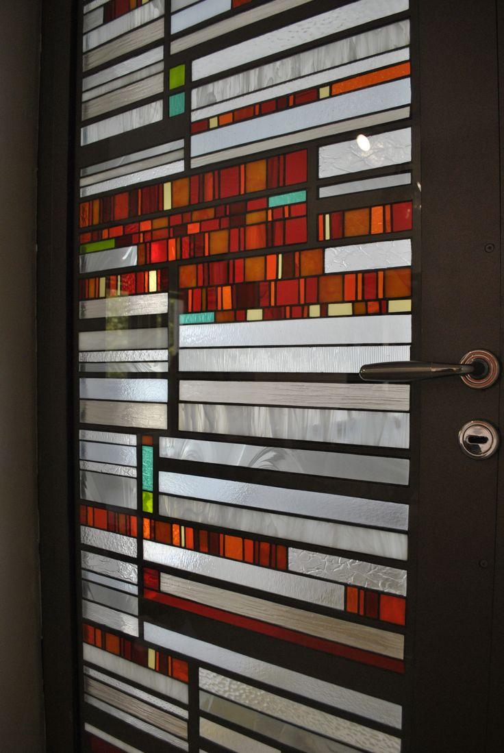 Metalic door With stained glass & tripan 40 mm