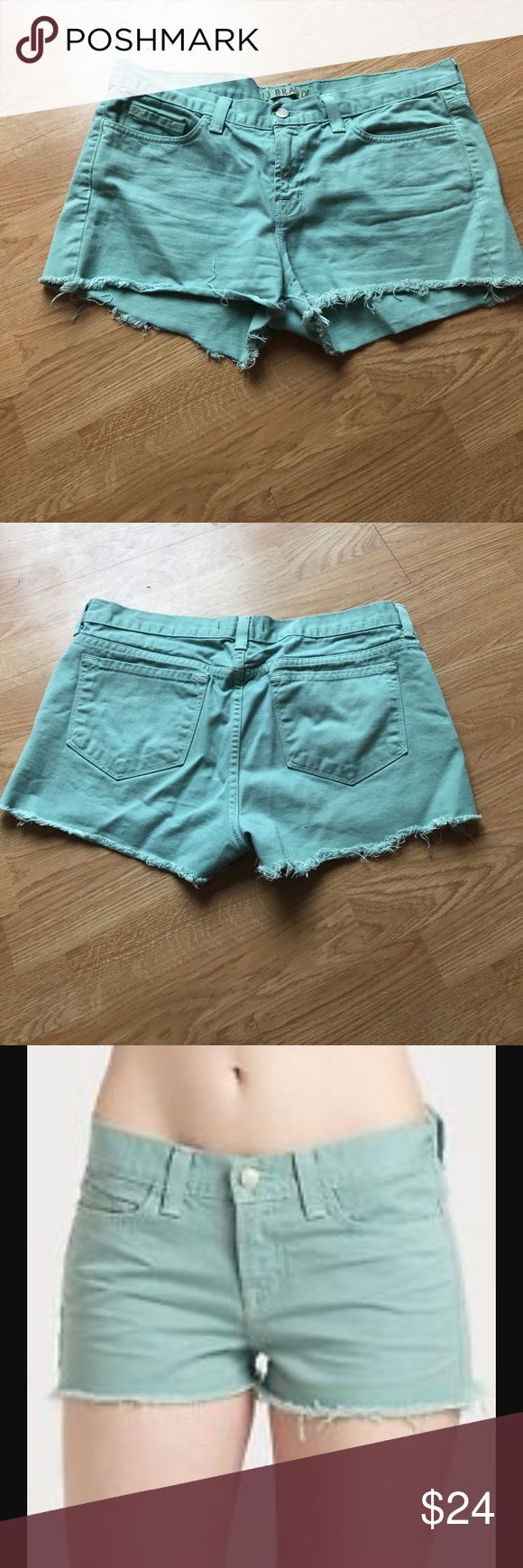J Brand Juniper Mint Green Jean Shorts Mint Green Ripped jean shorts. Zipper and Button closure. J Brand Shorts Jean Shorts