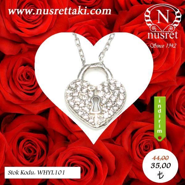 925 ayar gümüş askılı kalp anahtar deliği kolye