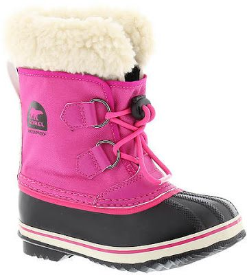 The Sorel Yoot Pac Nylon Girls' Toddler-Youth boot feature a waterproof nylon upper with a sturdy rubber foot.  A bungee lace closure and a removable felt liner will keep her feet toasty warm when she is out building a snowman or playing in the snow.
