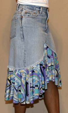 denim fabric skirts | Denim with Pucci-inspired printed fabric on a curved hemline. This ...