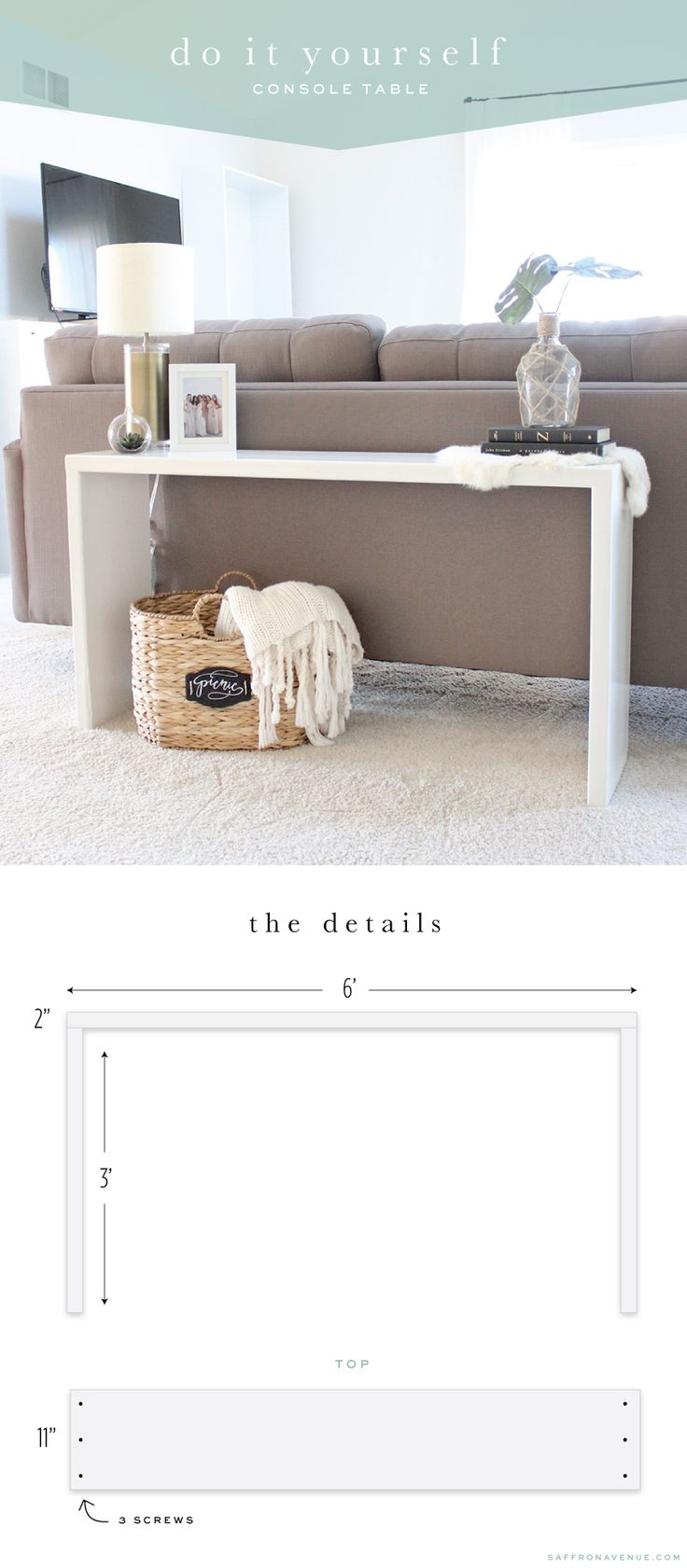 DIY Wood Console Table - Saffron Avenue : Saffron Avenue