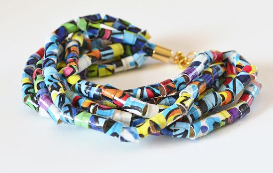 Cute idea -- use some of the brightly patterned and colored duct tapes available to make a beaded bracelet. How-tos from Dream a Little Bigger.