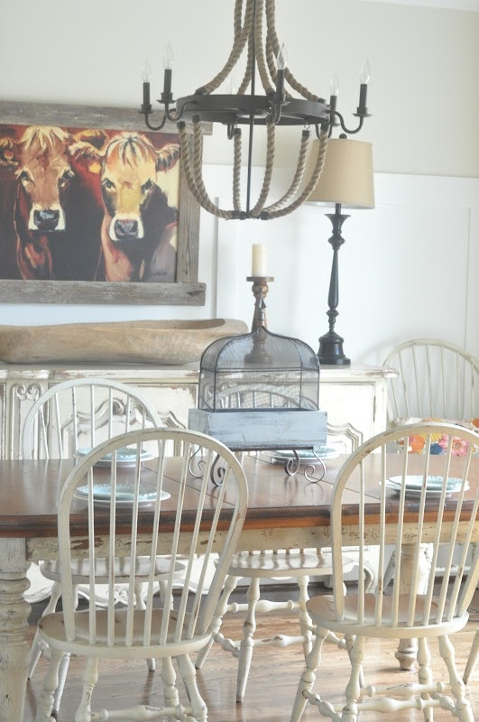 love that cow picture and the look in this room!