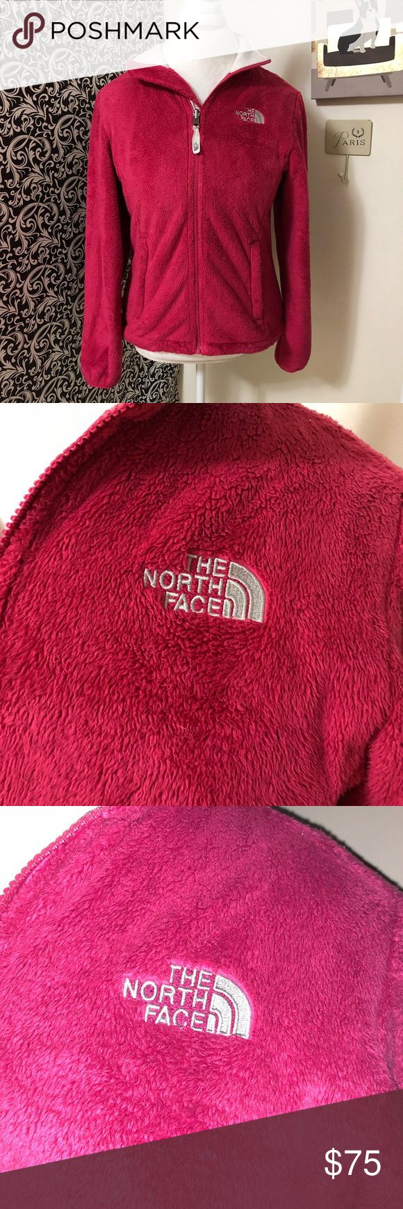Maroon north face fuzzy zip up Beautiful north face zip up jacket. In perfect condition. Size small. Fits true to size. Jacket is a maroon pink in person but the pictures make it look red. North Face Jackets & Coats