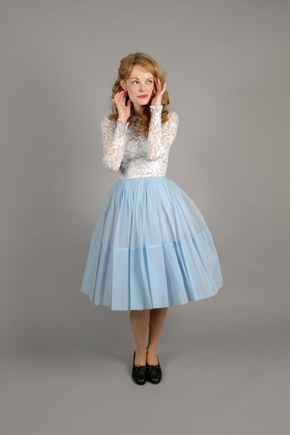 1950s/60s baby blue party dress // 50s blue party by coralvintage, $140.00
