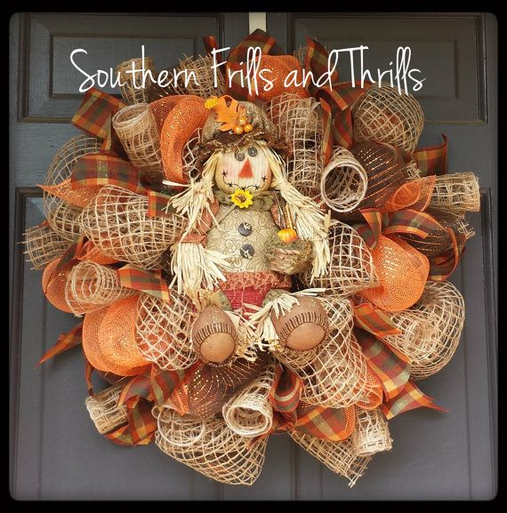 Scarecrow Deco Mesh and Jute Fall Wreath by SouthernThrills, $65.00