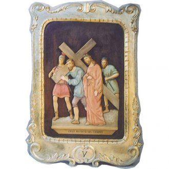 Vía Crucis 15 estaciones 100 x 70 cm madera tallada hoja de oro | venta online en HOLYART