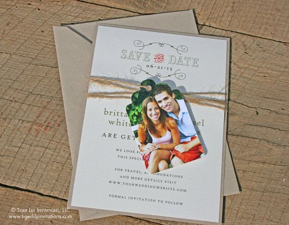 Now here's an idea for the invitations! make little tags out of photos. pinned for inspiration