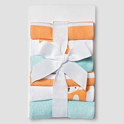 Baby Fox Print Lightweight Washcloth Set Soft 6 pk Circo - Aqua One Size, Soft Aqua