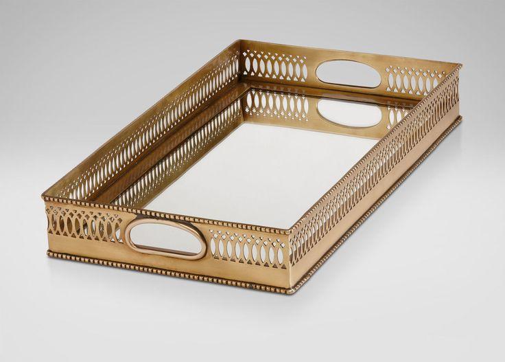 Rectangular Mirrored Brass Tray | Trays