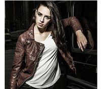 Lavabile Giacca di Pelle Donna Stile Vintage Tan Leather Giacche