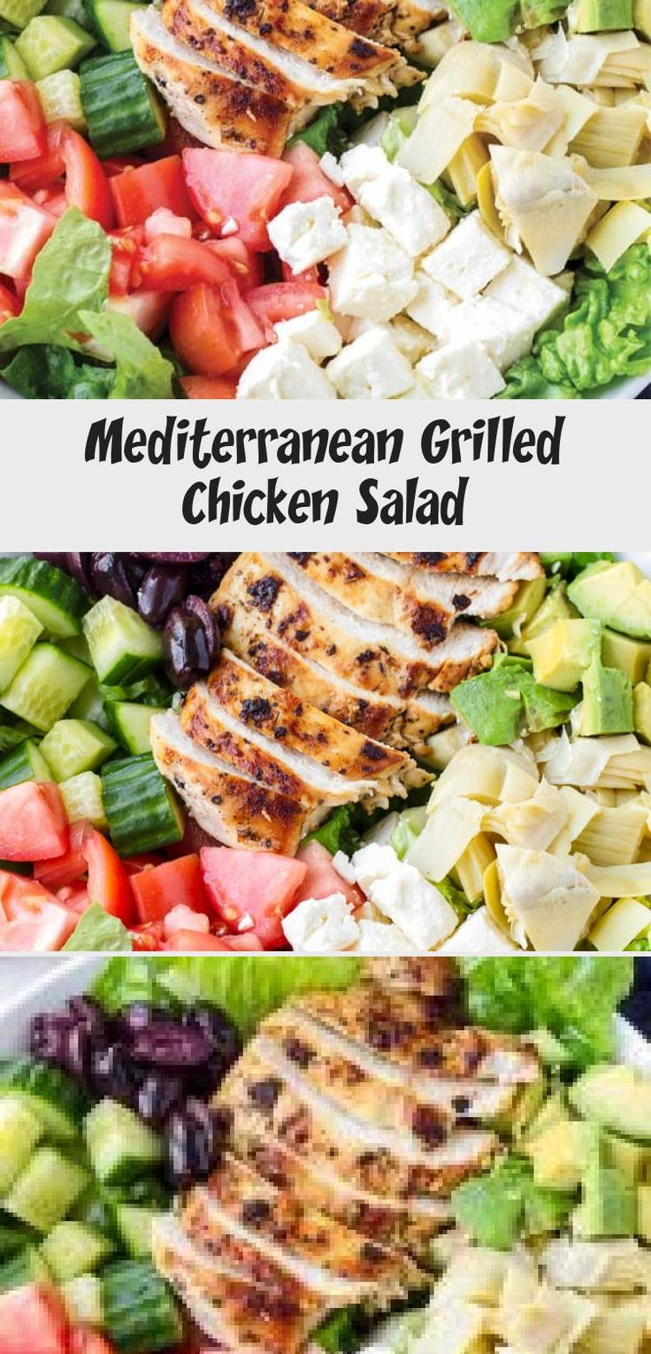 The best Mediterranean Chicken Salad! This Mediterranean grilled chicken salad is made with juicy a flavorful grilled chicken breast, complete with a mediterranean red wine dressing. Tossed feta, olives, avocado, and artichokes #cookingformysoul #mediterraneansalad #mediterraneandiet #grilledchickensalad #grilledchicken #mediterraneangrilledchicken   cookingformysoul.com #Cucumbersaladrecipes #saladrecipesApple #Panerasaladrecipes #Romainesaladrecipes #Ketosaladrecipes