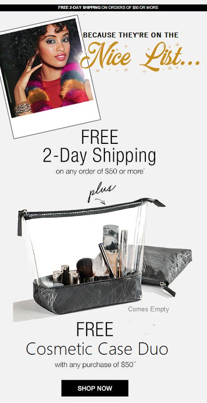 Because they're on your nice list, send them gifts that are already gift-wrapped and ready to give!   FLAT RATE: $6.95 No matter the weight No matter the size No Matter the distance.  Avon Rep Rosemarie Clark free 2-day shipping on any order of $50 or more. November 28th - 29th 2017.  Plus a free Cosmetic Case Duo.