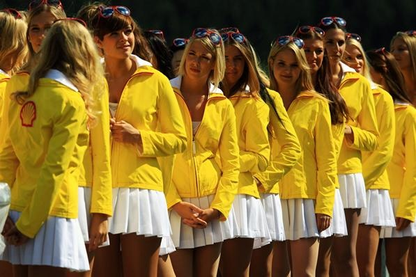 Grid girls. Formula One World Championship, Rd12, Belgian Grand Prix, Qualifying, Spa-Francorchamps, Belgium, Saturday, 1 September 2012
