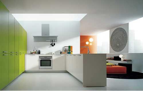 Kitchen:Modern Kitchen Large Green Kitchen Cabinet White Kitchen Island Silver Oven Gas Stove Wash Basin Tap White MS International Indoor C...