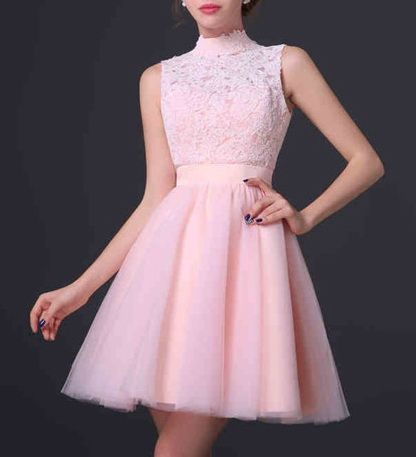 Stunning High Neck School Gowns Homecoming Dresses Open Back Sheer Tulle A-Line…