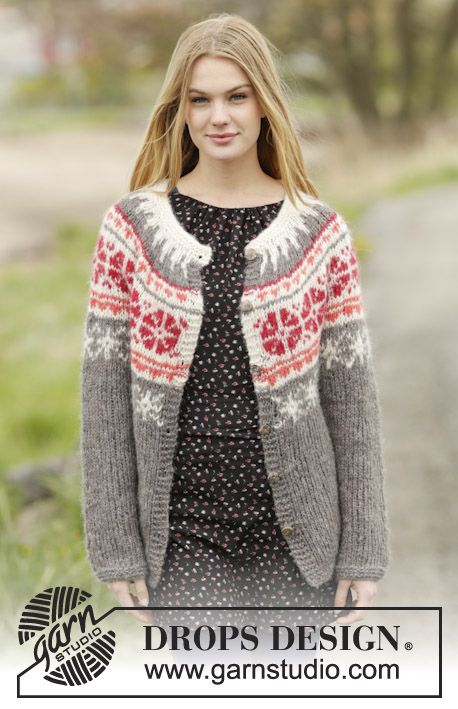 """Petunia Cardigan - Knitted DROPS jacket with round yoke and Nordic pattern, worked top down in 2 strands """"Brushed Alpaca Silk"""" or 1 strand """"Melody"""". Size: S - XXXL. - Free pattern by DROPS Design"""