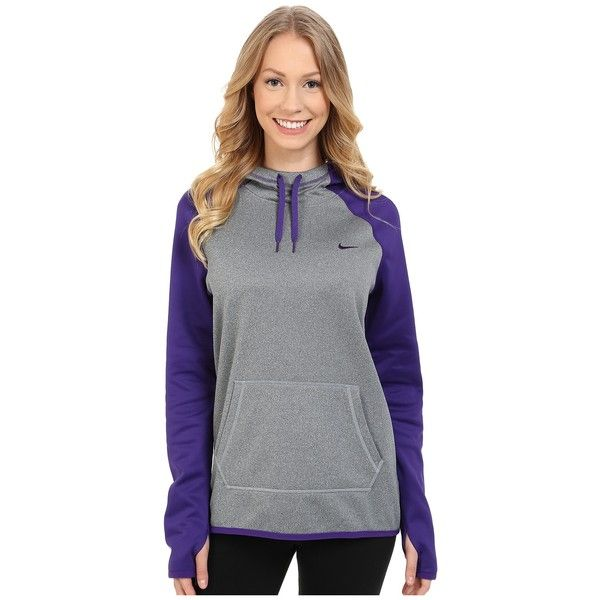 Nike All Time Pullover Hoodie Women's Long Sleeve Pullover ($50) ❤ liked on Polyvore featuring tops, hoodies, nike hoodie, hooded pullover sweatshirt, blue hooded sweatshirt, nike pullover and long hoodies