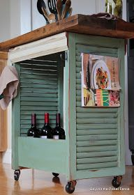 Beyond The Picket Fence: Shutter Island. Re-use old shutters to make a mobile cart. Could use in kitchen or craft room.