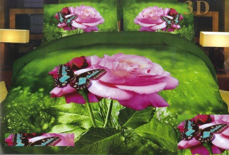 3D posteľné obliečky zelenej farby s ružovou ružou a motýľom