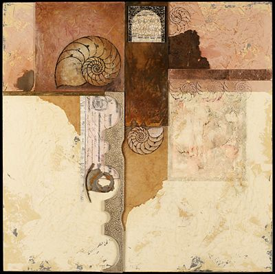 """Roberta Smith: """"A Knot In The Continuum"""" - Pigmented plaster, found objects, collage and drawing transfer on panel"""