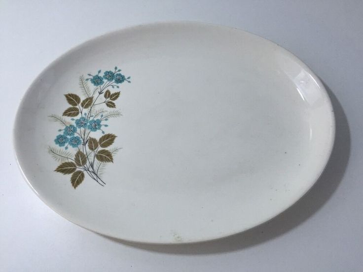 Vintage White Oval Serving Plate With Blue And Brown Flowers 13 5