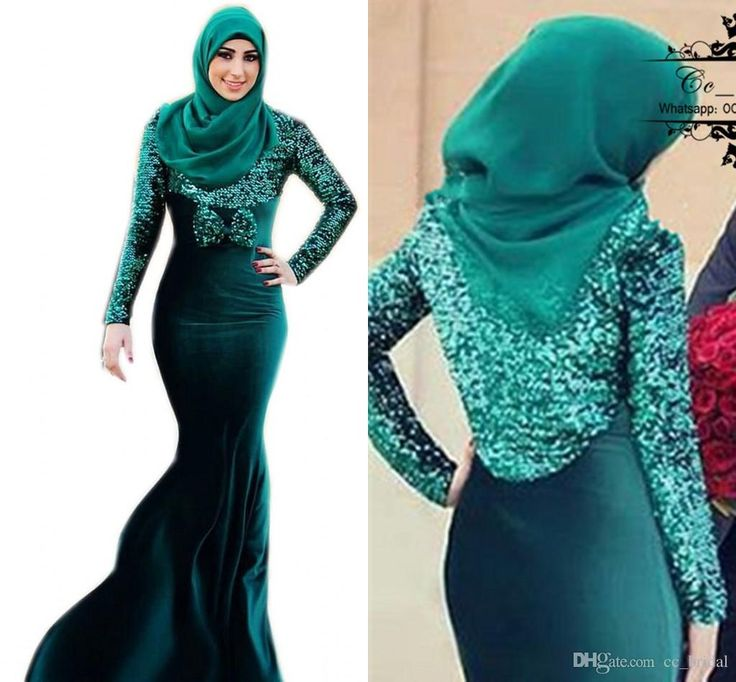 Vintage Long Sleeves Muslim Evening Dresses Sequined Dubai Abaya Kaftan Formal Gowns Plus Size Mermaid Arabic Formal Dresses New With Hijab Evening Dress Malaysia Evening Dress Online From Cc_bridal, $104.53| Dhgate.Com