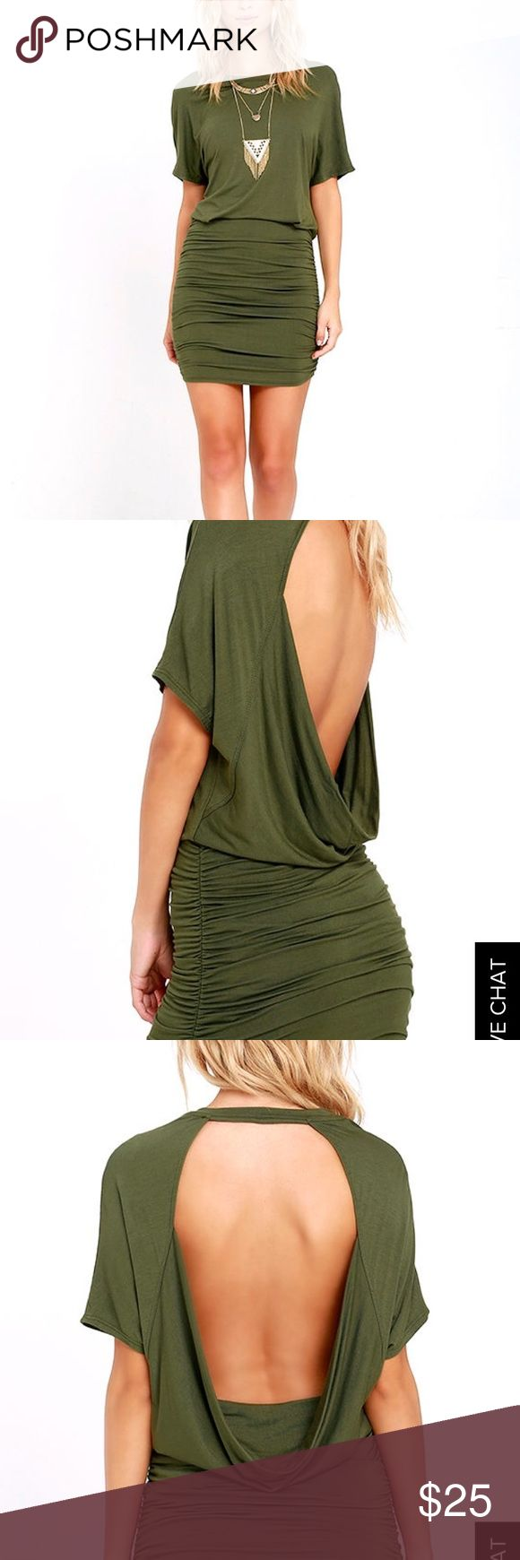 Green Olive Cocktail Going Out Party Dress Backless, new with tags, never worn Lulu's Dresses Mini