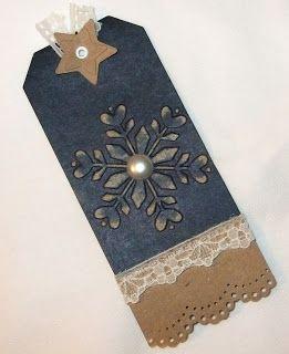 Christmas Gift Tag - Using Bargain Ikea Snovita Christmas Tags! embossed snowflake pearls, lace, border punch