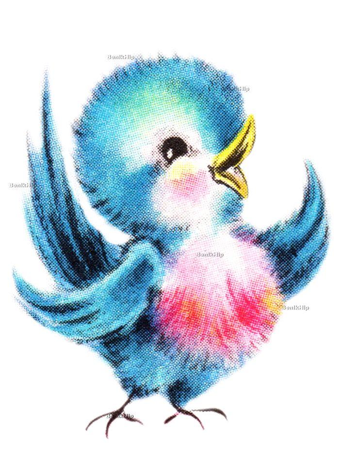 Strijkapplicatie Vintage Bird