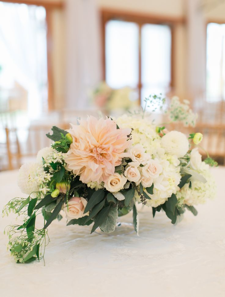 Want this Romantic Blush Dahlia and Rose Centerpiece fire my wedding