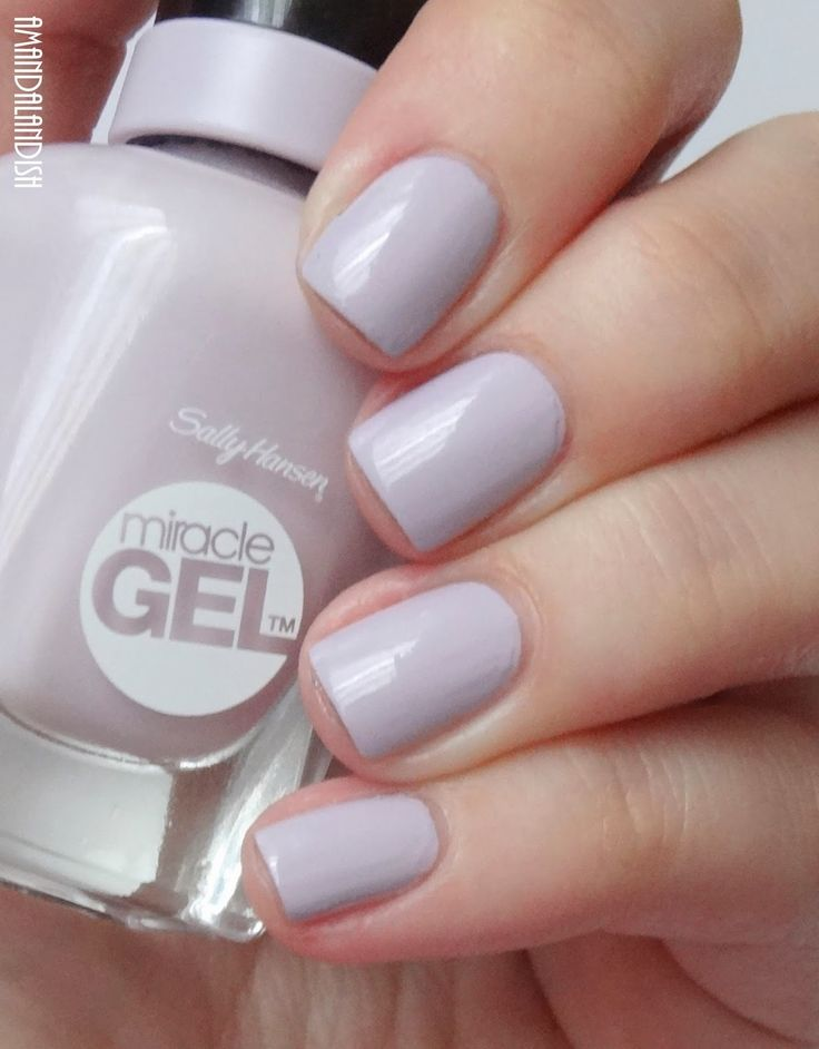 """Sally Hansen """"All Chalked Up"""" - cool grey-toned lilac - #Miracle Gel nail polish / lacquer / vernis, swatch  / manicure"""