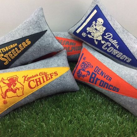 Vintage sports pennant pillows