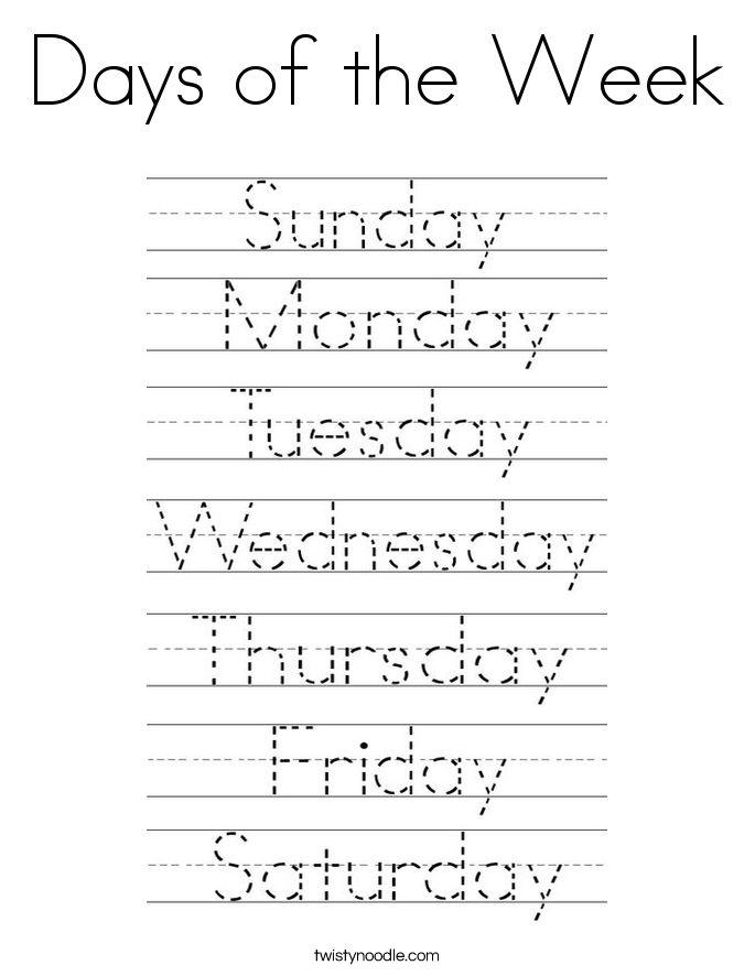 Kindergarten Days Of Week Worksheet
