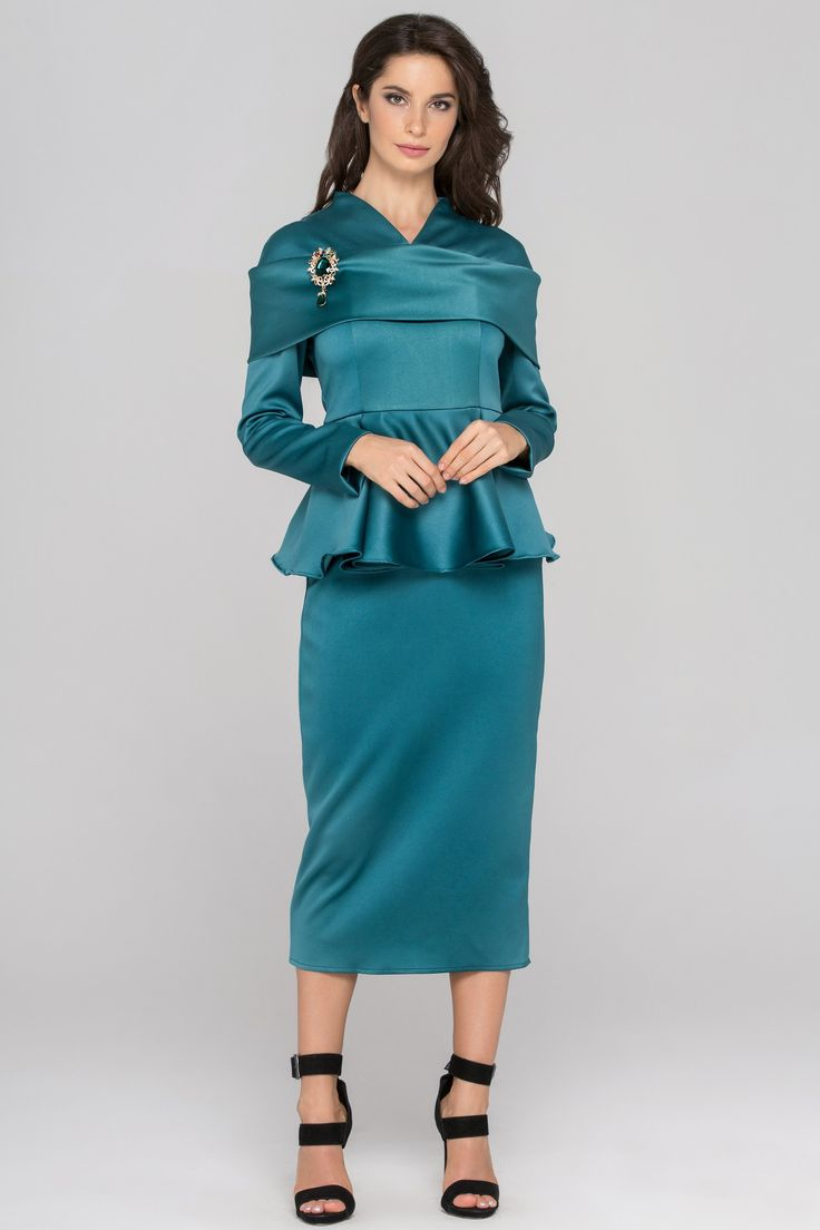 Teal Green Sleeved Satin Peplum Midi Dress - (Price: $224.00)      #fashionstyle #fashionweek #fashionable #Dress  #shopping #womens #womenstyle #stores #style