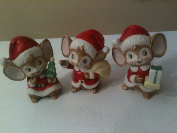 New Set Of 3 Vintage Christmas Holiday Mice Homco Home Interior Figurines
