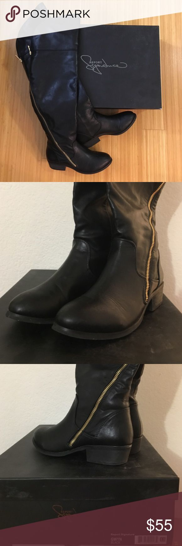 """Report Signature Gwyn Over The Knee Boot- Size 5.5 Report Signature Gwyn Over The Knee Boot. Unique long zipper trailing from top to bottom.  Size: 5.5 Material: supple, buttery-soft vegan leather upper adorned with a sleek asymmetrical zipper that wraps the leg for a rich, edgy vibe and easy on/off. Heel Height: 1.25"""" Shaft: 23"""" from arch Circumference: 15"""" Condition: Excellent, worn less than 5 times. Comes with original box.  Can bundle!  View my page for more shoes. Report Signature…"""
