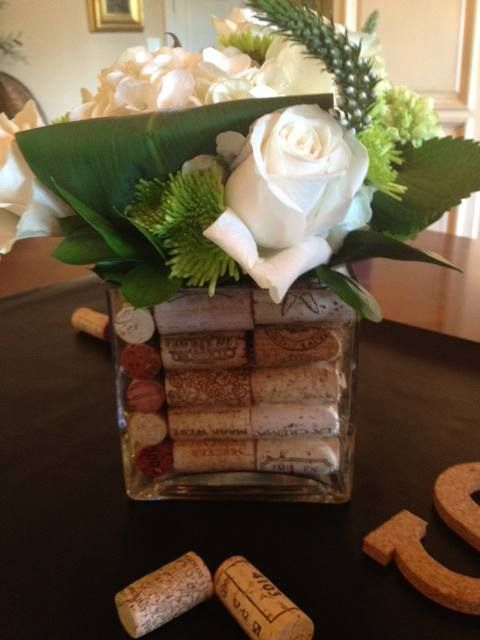 9eda60e04a51 Pretty Wine Cork and Flowers Dispaly for Couples Shower