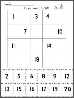 """FREE MATH LESSON - """"Count to 20 Review"""" -Cut and paste missing numbers. Great visual structure for students with autism or other special needs. Cut the page in half to quickly differentiate for your younger students. Download at: http://www.teacherspayteachers.com/Product/Count-to-20-review-850189"""