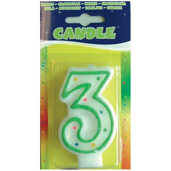 Verjaardags kaarsje 3 jaar. Kaars in de vorm van het getal 3. U ontvangt een willekeurige kleur van het kaarsje. Formaat: ongeveer 7,5 x 4 cm.