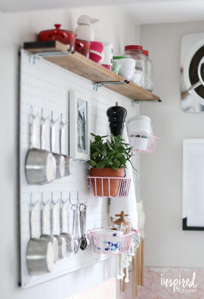 DIY Kitchen Pegboard Storage via inspiredbycharm.com 's Summer Home Tour