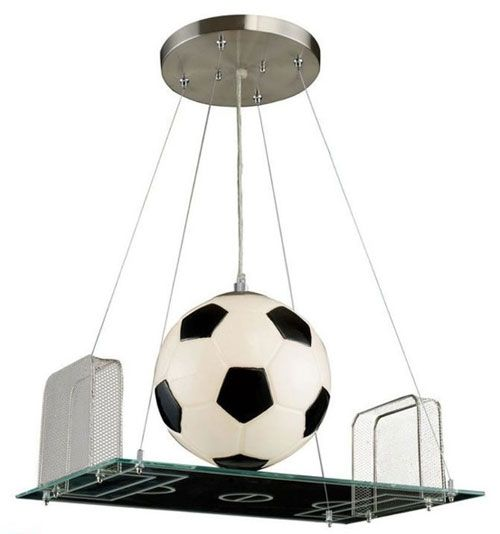 Lampadario a sospensione per la cameretta di bambini a forma di campo da calcio con pallone     -> Lampadario Cameretta Bambina
